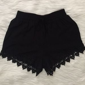 Pants - Black shorts with lace detail